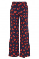 Tara Jarmon - Women's Animal Print Pants - Bleu Nuit