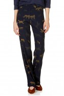 Tara Jarmon - Women's Printed Straight-Leg Pants - Bleu Nuit