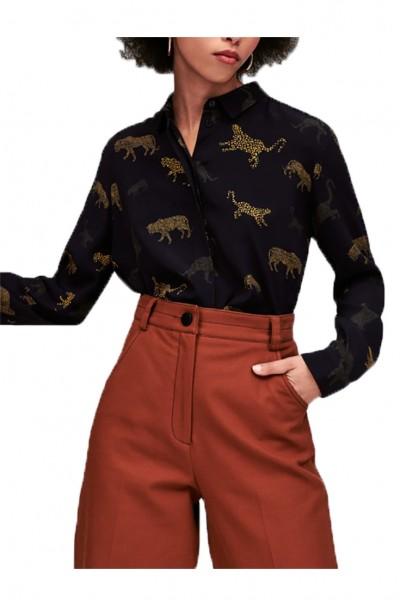 Tara Jarmon - Women's Leopard Shirt - Bleu Nuit