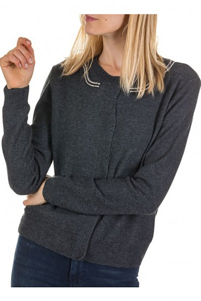 Tara Jarmon - Women's Round-Neck Wool And Cashmere Cardigan - Gris Chini Fonce