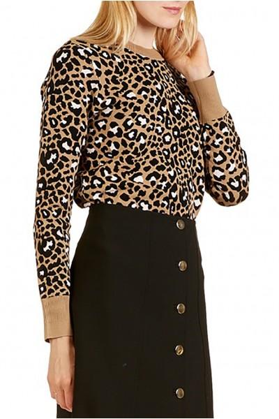Tara Jarmon - Women's Leopard Print Sweater - Camel