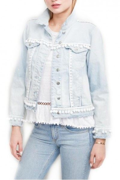 Generation Love - Women's Casey Pom Poms Jacket - Blue