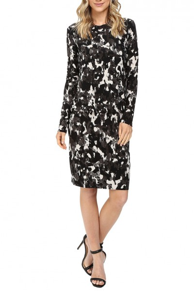 Norma Kamali - Women's Long Sleeve Babydoll Dress - Mordern Camo
