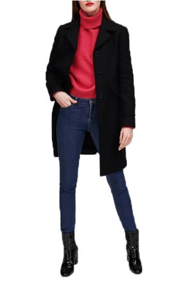 Tara Jarmon - Women's Mid Length Wool Coat - Noir Black
