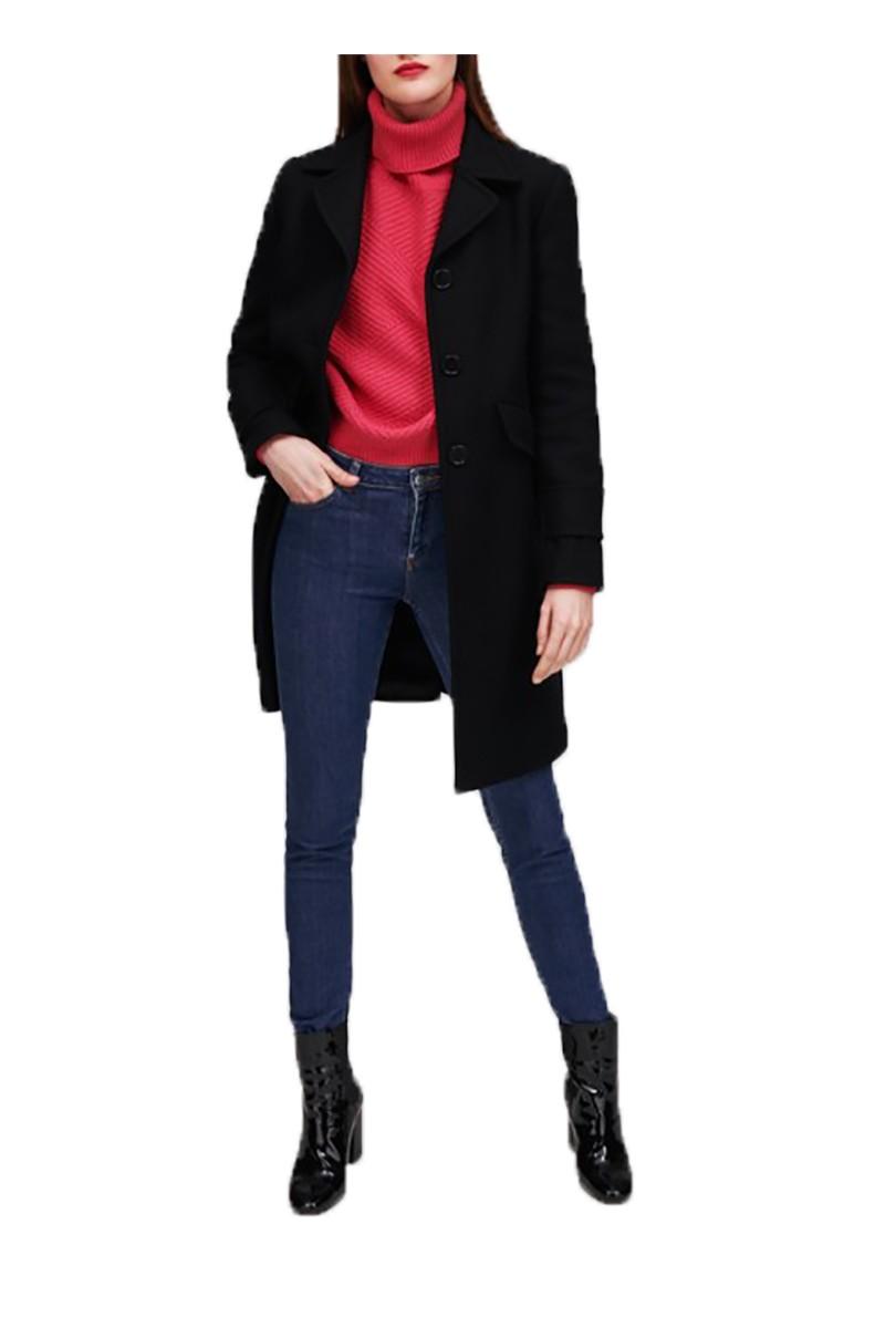 c74304c42e Tara Jarmon - Women s Mid Length Wool Coat - Noir Black