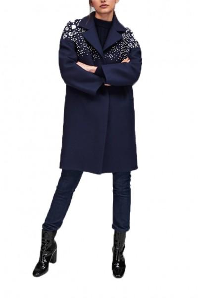 Tara Jarmon - Women's Midnight Blue Coat With Rhinestones - Bleu Nuit