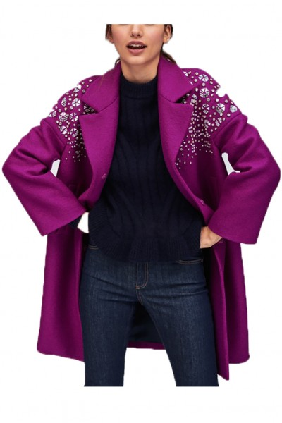 Tara Jarmon - Women's Purple Coat With Rhinestones - Mauve