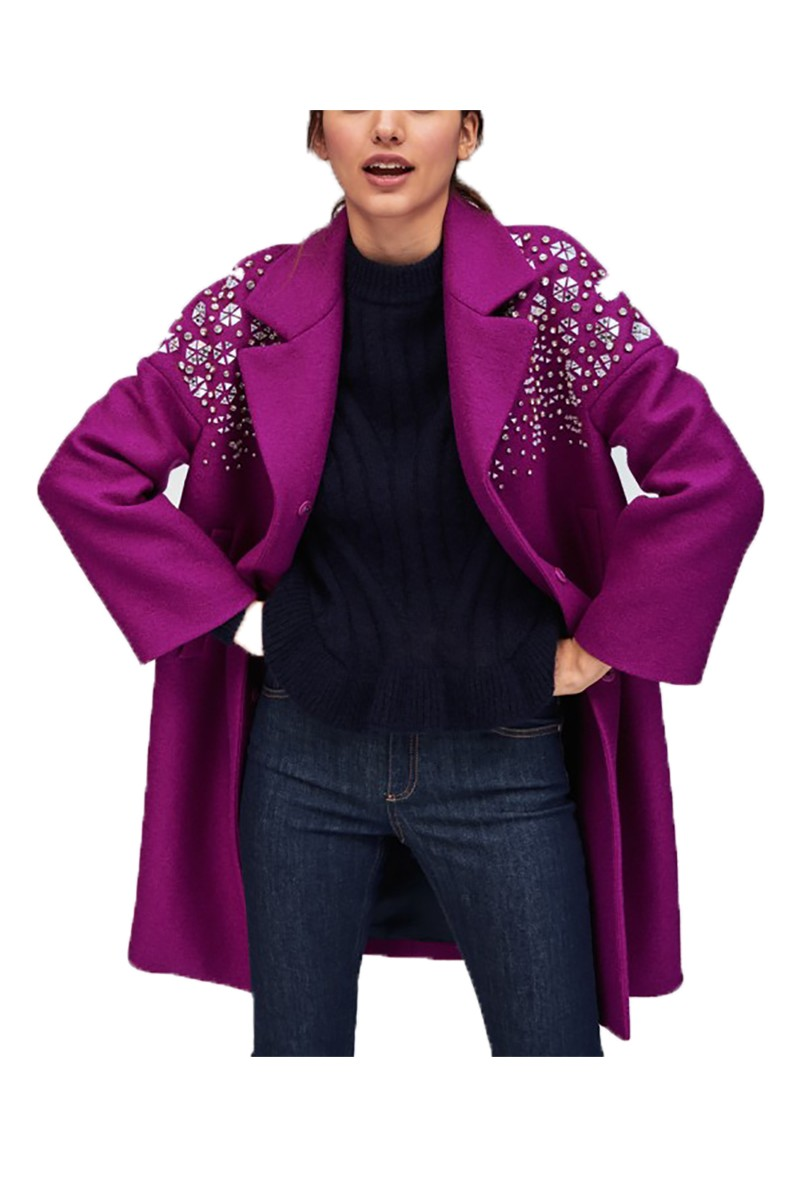 Tara Jarmon - Women's Purple Coat With Rhinestones - Mauve
