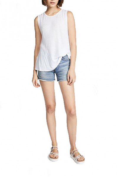 LNA - Women's Pintucked Tank - White
