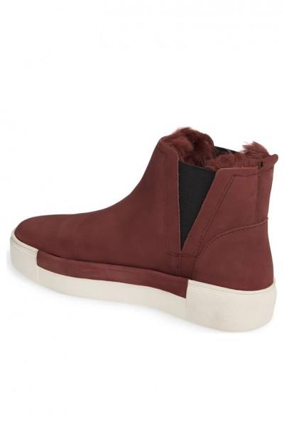 JSlides - Val Faux Fur Lined Platform Sneaker- Burgandy Nubuck