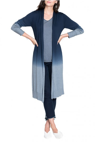 Nic+Zoe - Women's Traveler Ombre Duster Cardigan - Bluestone