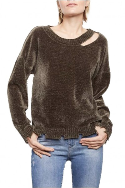 Generation Love - Women's Leslie Chenille Top - Army