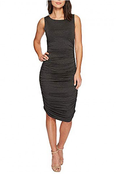 Norma Kamali - Women's Sleeveless Shirred Dress - Dark Grey