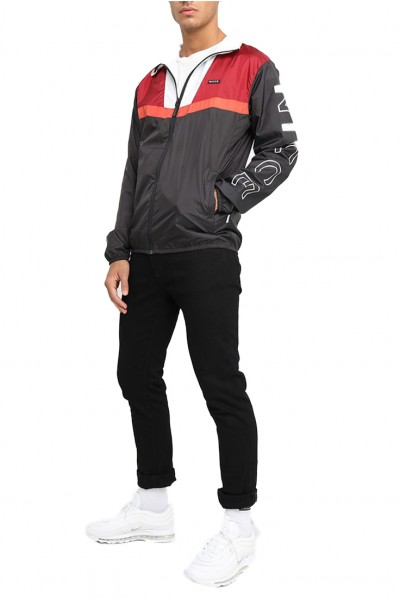 Nicce - Men's Motion Jacket - Black Merlot Red White Ochre
