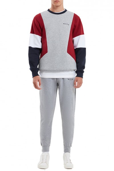 Nicce - Men's Union Sweat Shirt - Light Grey Merlot Deep Navy White