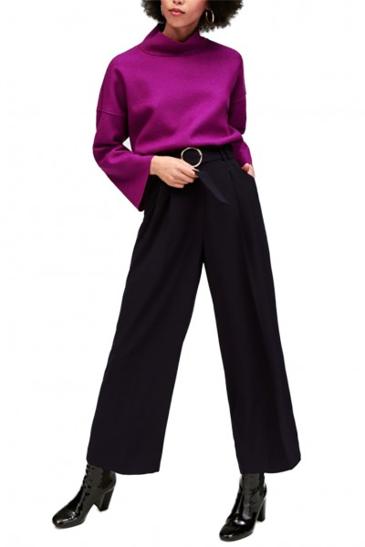 Tara Jarmon - Women's Wide Leg Flowy Crepe Pants - Black