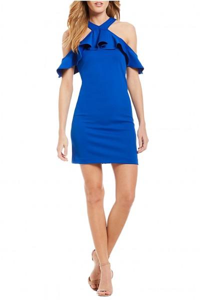Trina Turk - Women's Jurnee Cold Shoulder Flounce Sleeve Dress - Cobalt