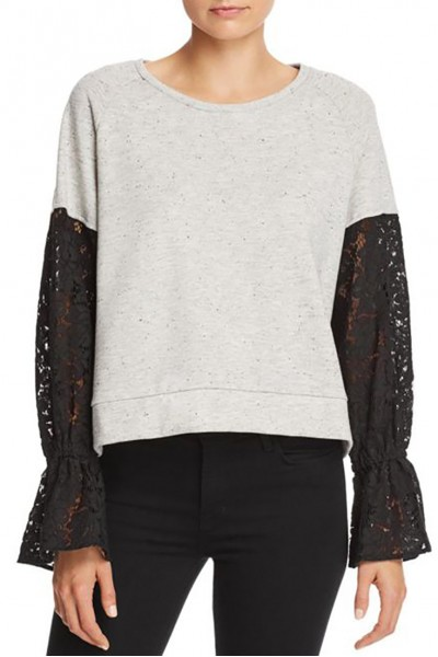 Generation Love - Women's Charlotte Lace sleeve Sweat Shirt - Grey