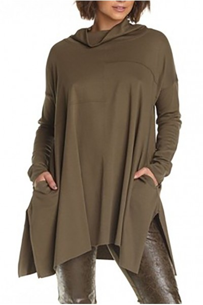 Planet - Women's Seamed Cowl Dress - Army
