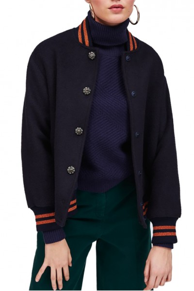 Tara Jarmon - Women's Midnight Blue Varsity Jacket - Bleu Nuit