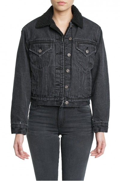 Pistola - Women's Tori Cropped Boyfriend Fit Denim Jacket - Night Crawler