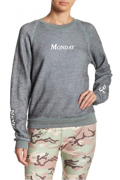 Wildfox - Women's Never Say Monday Sweatshirt - Heather Cadet Blue