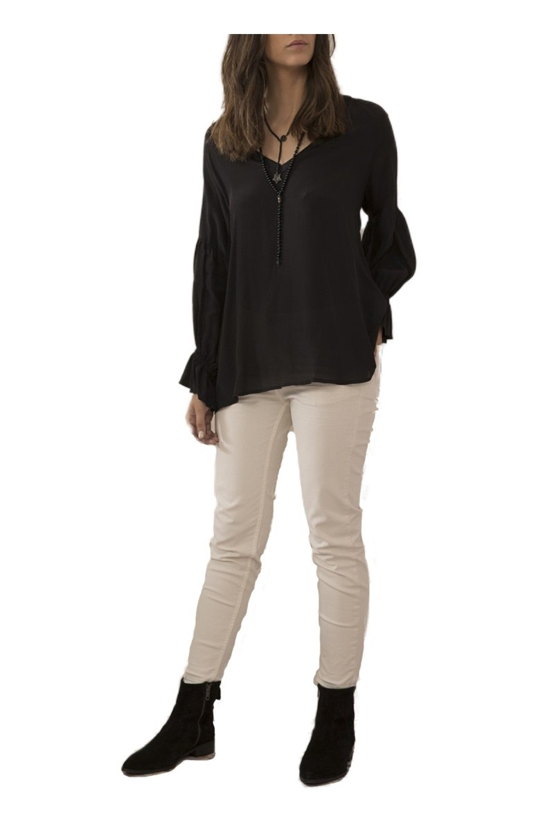 Sack's - Women's Iris V Neck Raglan Blouse - Black