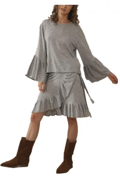 Sack's - Women's Tory Ruffles Knit Top - Grey Melange
