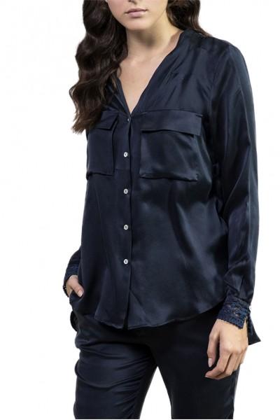 Sack's - Women's Jia crochet cuff shirt - Navy