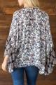 Mystree - Women's Tape Neck Detail Ruffle Sleeve Kimono - Multi