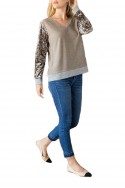 Mystree - Women's Terry Velvet Mix VNeck Sweater -  Mocha Olive