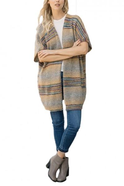 Mystree - Women's 2 Pocket Jacquard Sweater Cardigan - Mustard