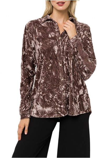 Mystree - Women's Velvet Shirt With Lace Trim - Mauve