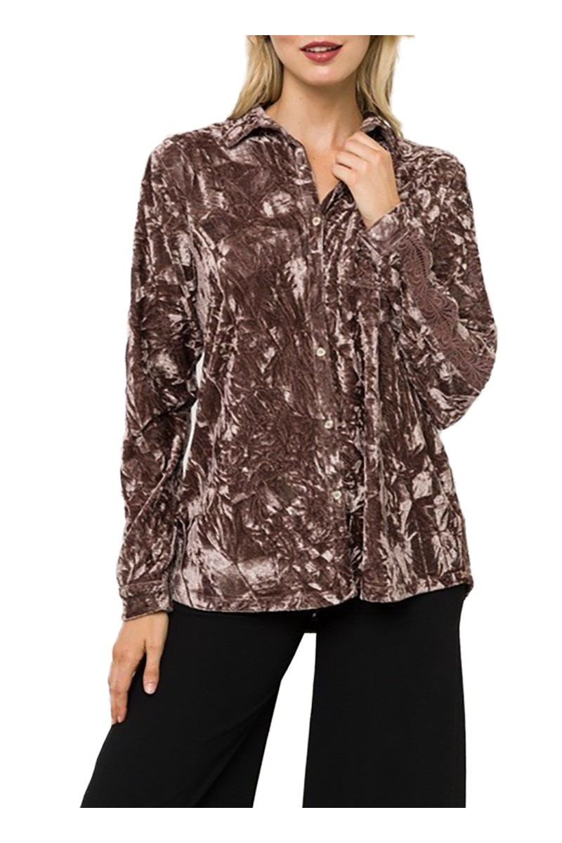 Mystree - Women's Velvet Shirt With Lace Trim - Mauve