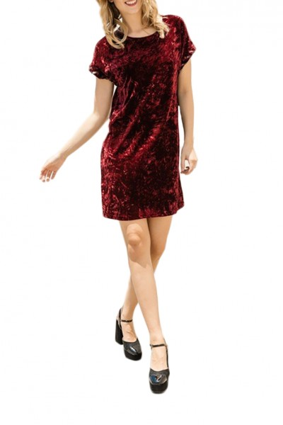 Mystree - Women's Sleeves Chord Detail Velvet Dress - Burgundy