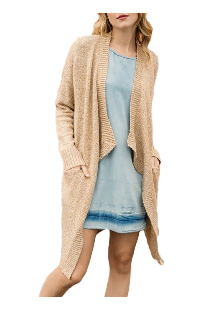 Mystree - Women's Front Opening Cardigan - Sand