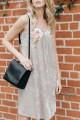 Mystree - Women's Embroidered Front Velvet Dress - Taupe