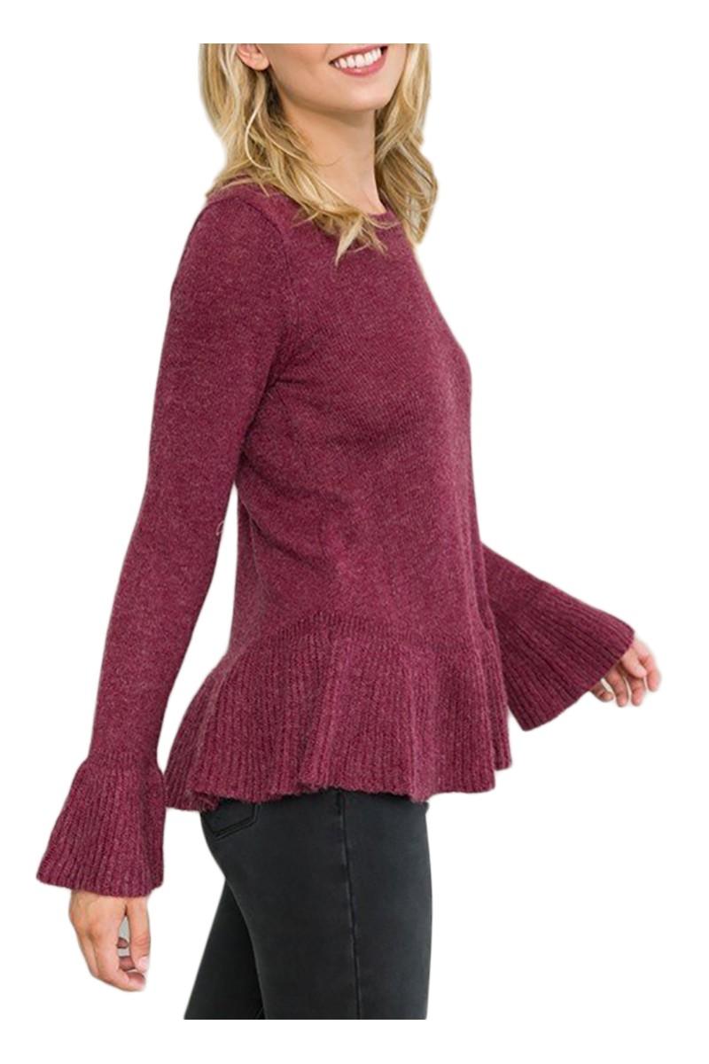 Mystree - Women's Ruffle Bottom Dtail Sweater Top - Wine