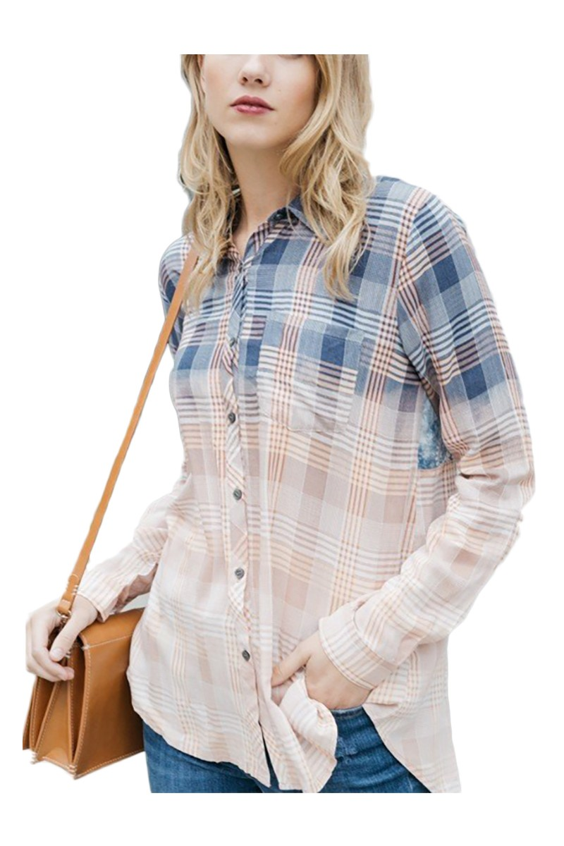 Mystree - Women's Bleach Contrast Back Plaid Shirt - Blush Mix