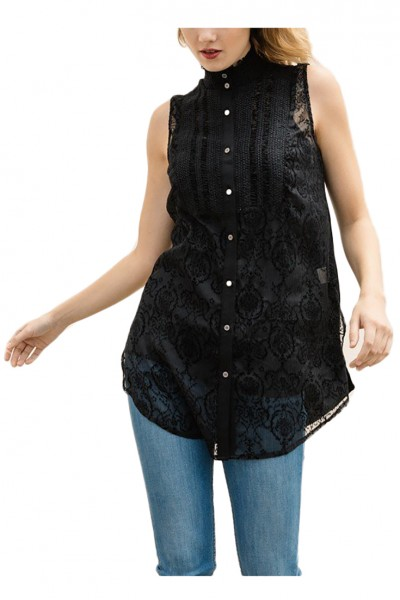 Mystree - Women's Flocked Special Smoked Top With Knit Back - Black