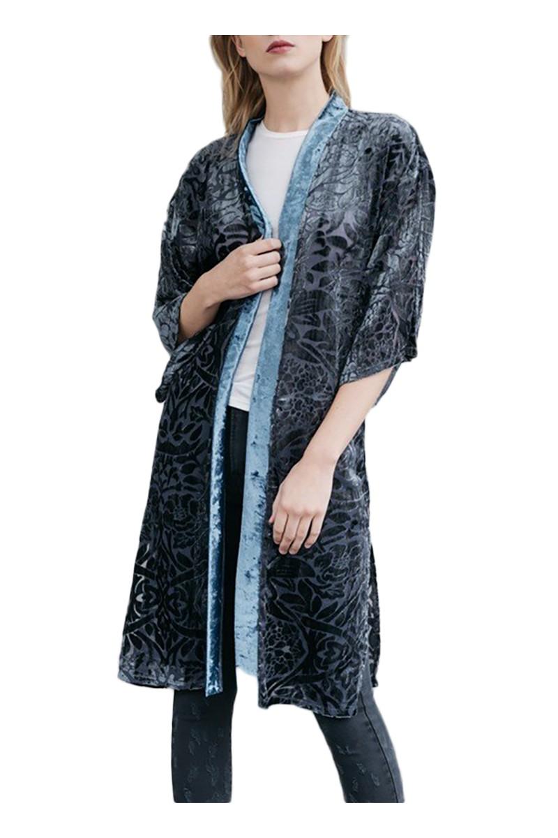 Mystree - Women's Burnout Velvet Kimono - Slate Blue