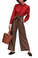 Tara Jarmon - Women's Wide Leg Checked High Waist Pant - Caramel