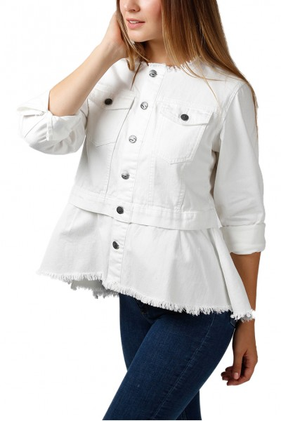 Central Park West - Women's Chuparosa Collarless Peplum Denim Jacket - White