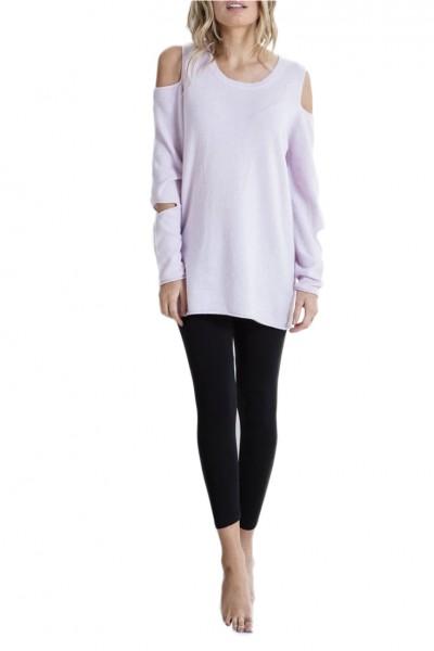 Brodie - Women's Cold Shoulder Malibu Cashmere Jumper - Fon Pink