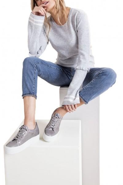 Brodie - Women's Cashmere Munro Ruffle Jumper - Grey