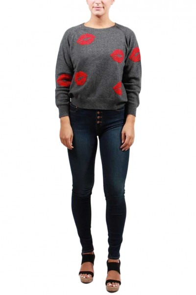 Brodie - Women's Red Lips Cashmere Sweater - Derby Grey