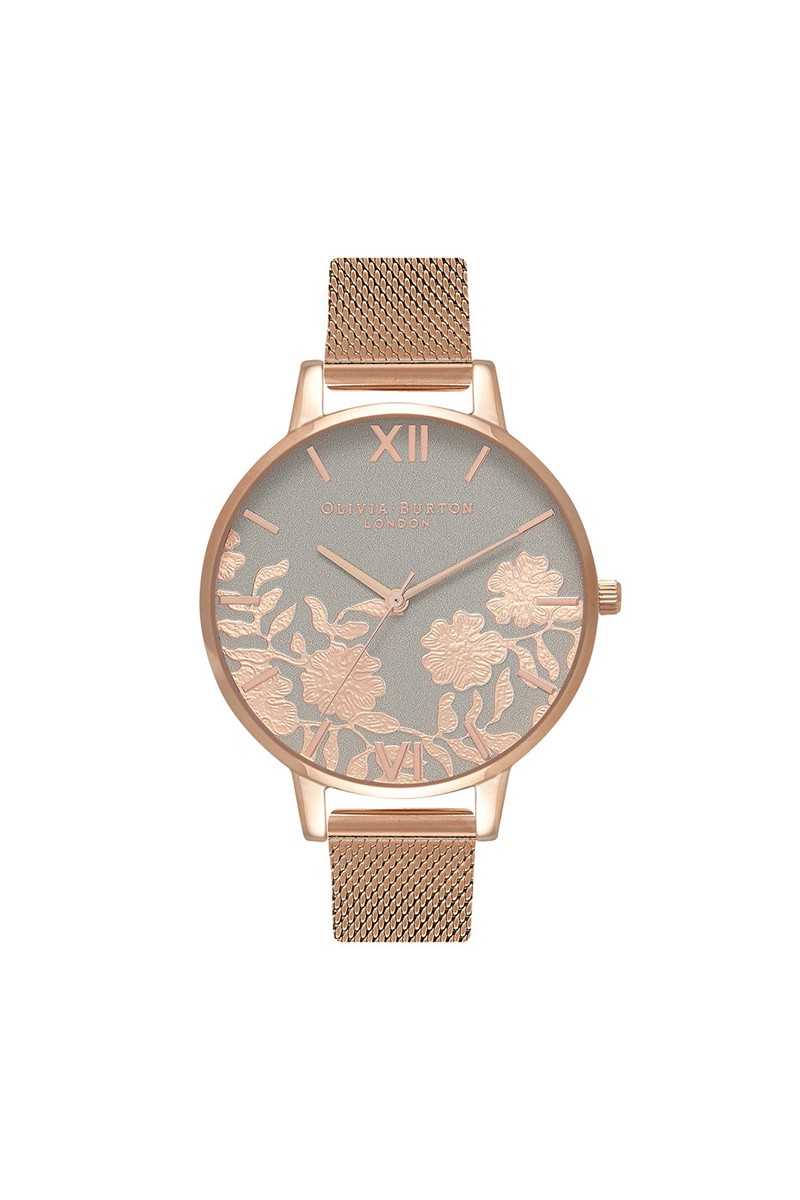 03f0d6f215a4e Olivia Burton - Women s Lace Detail Midi Watch - Grey Rose Gold