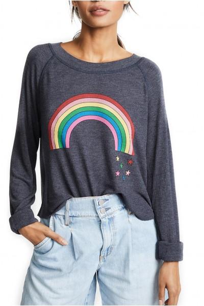 Wildfox - Women's Rainbow Stars Monte Crop Tee - Oxford