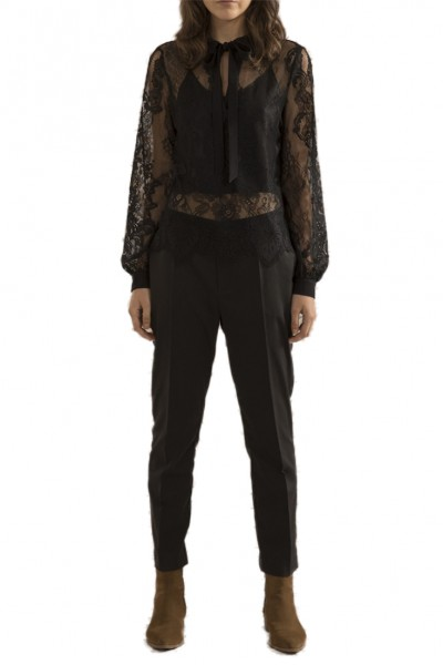 Sack's - Women's Ling Polo Lace Blouse - Black