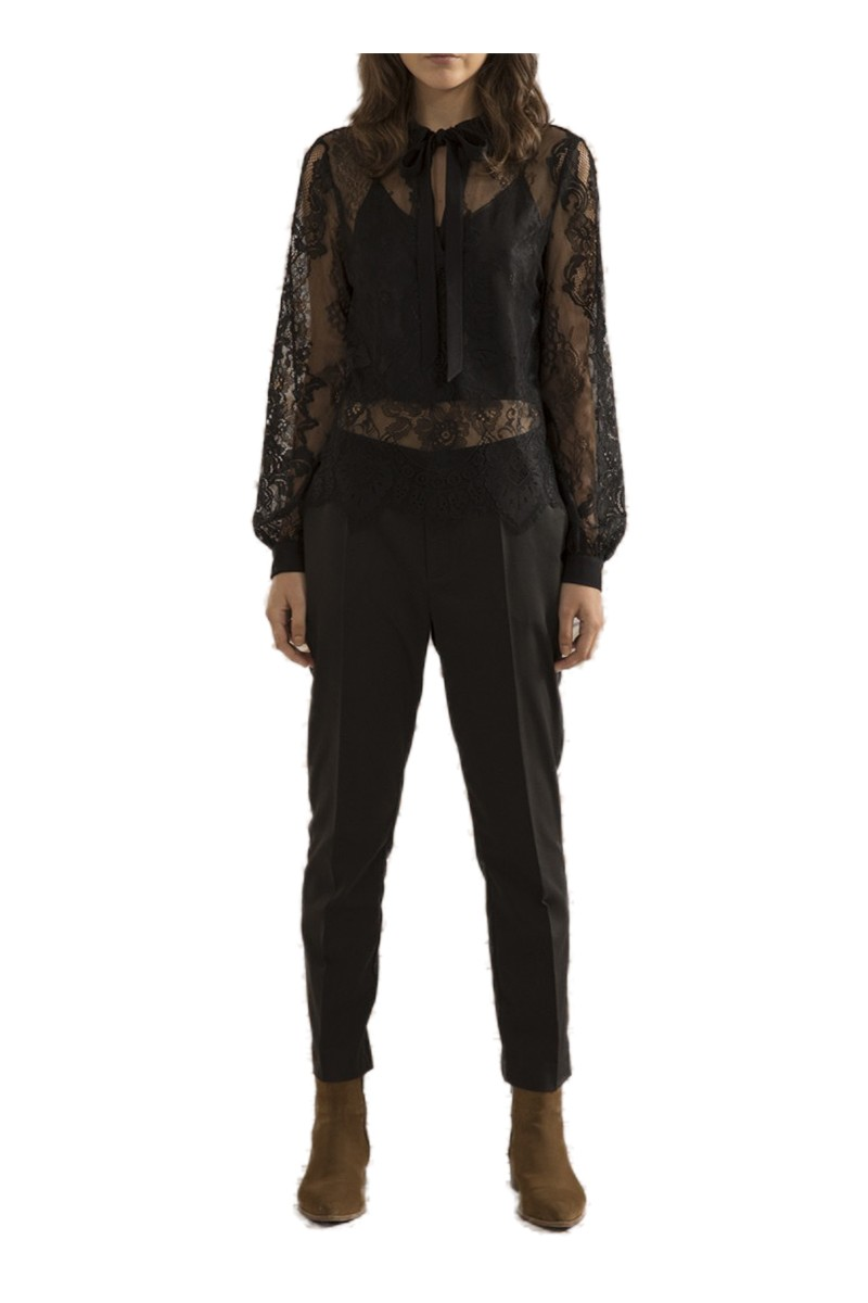 Sack's - Women's Ling Polo Lace Blouse - Black